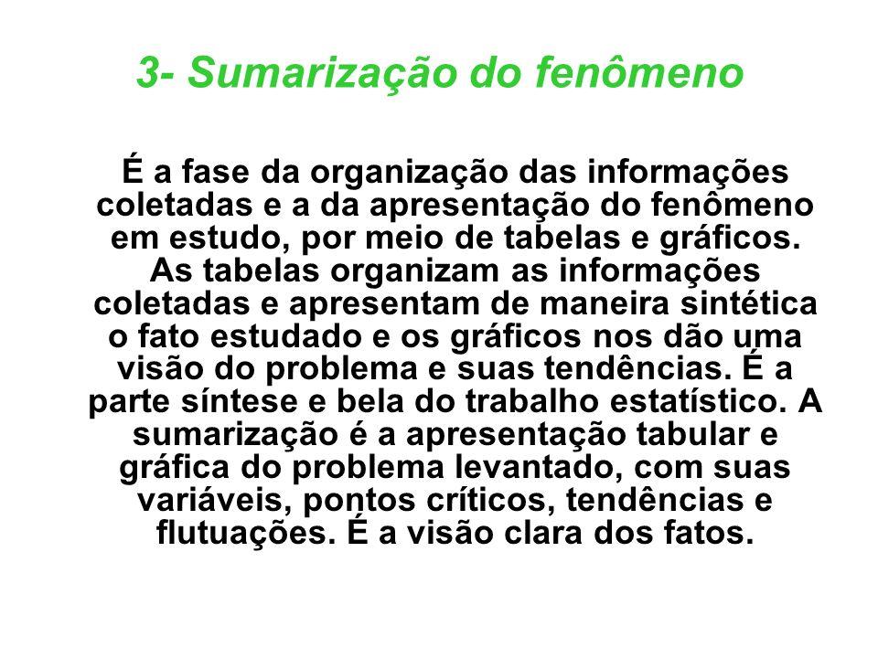 3- Sumarização do fenômeno É a fase da organização das informações coletadas e a da apresentação do fenômeno em estudo, por meio de tabelas e gráficos