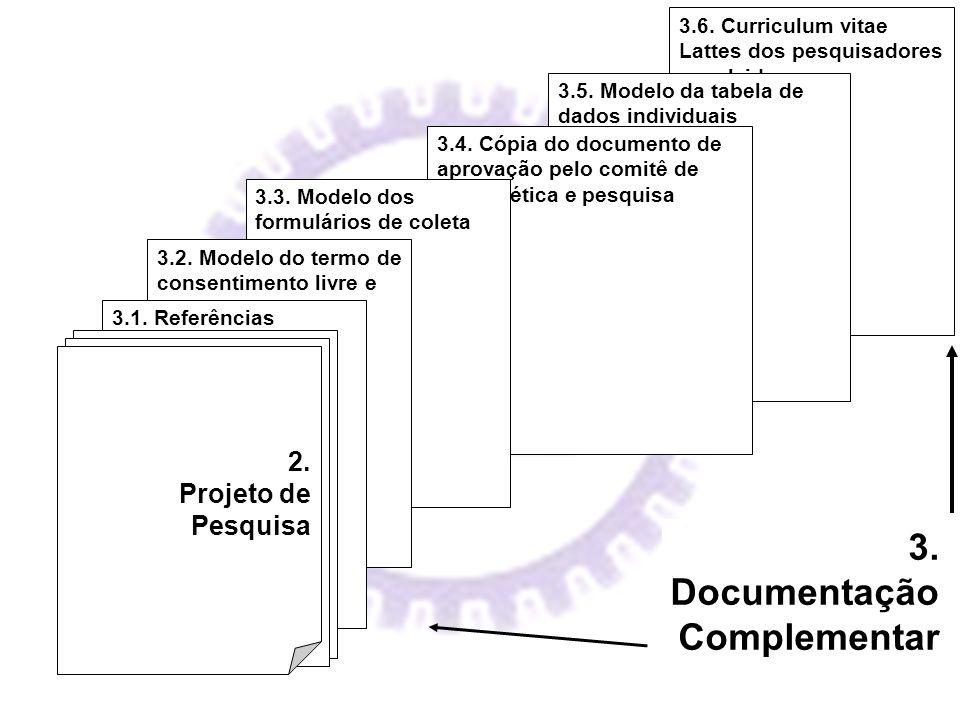 3.6. Curriculum vitae Lattes dos pesquisadores envolvidos 3.5. Modelo da tabela de dados individuais 3.4. Cópia do documento de aprovação pelo comitê