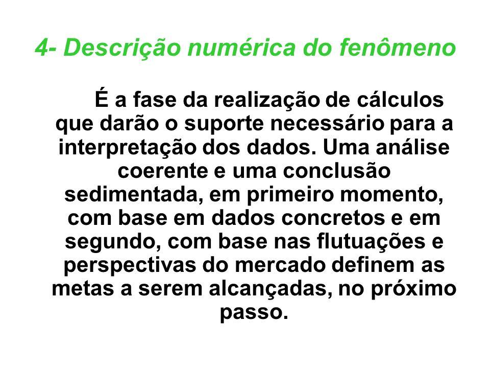 4- Descrição numérica do fenômeno É a fase da realização de cálculos que darão o suporte necessário para a interpretação dos dados. Uma análise coeren