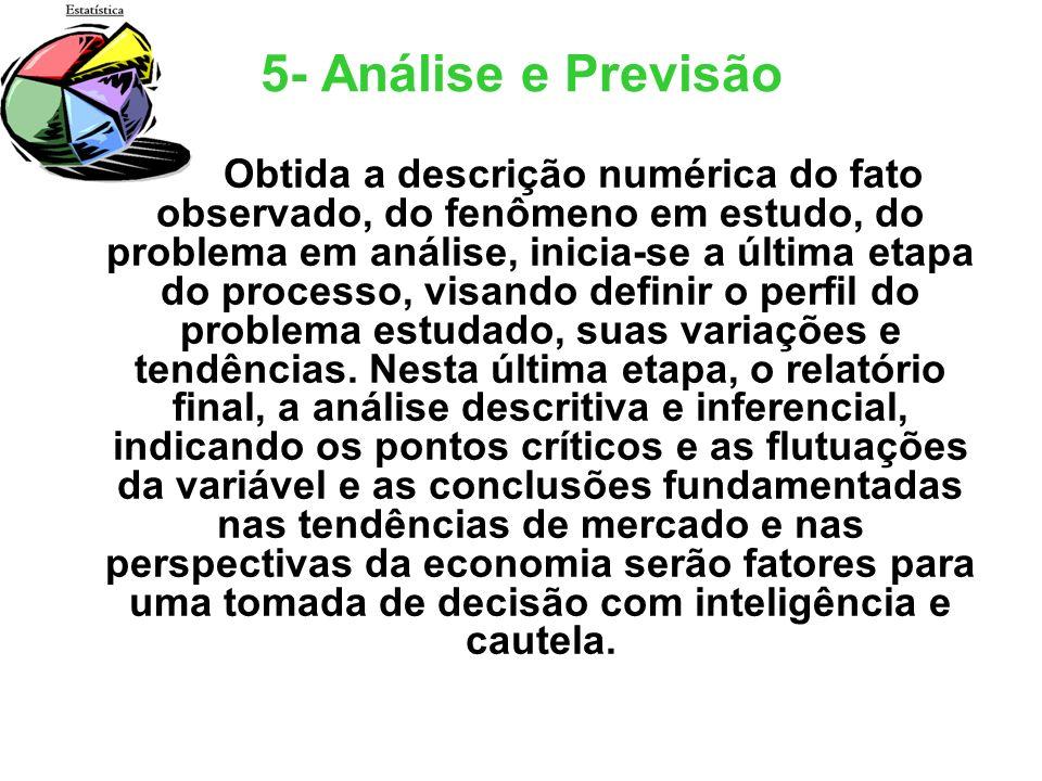 5- Análise e Previsão Obtida a descrição numérica do fato observado, do fenômeno em estudo, do problema em análise, inicia-se a última etapa do proces