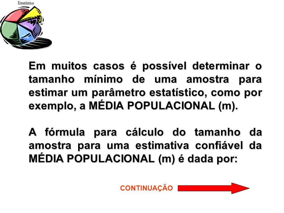 Em muitos casos é possível determinar o tamanho mínimo de uma amostra para estimar um parâmetro estatístico, como por exemplo, a MÉDIA POPULACIONAL (m