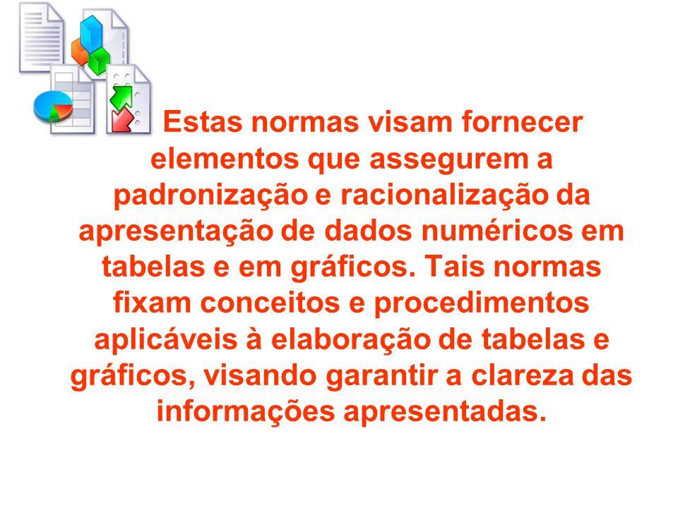 Estas normas visam fornecer elementos que assegurem a padronização e racionalização da apresentação de dados numéricos em tabelas e em gráficos. Tais