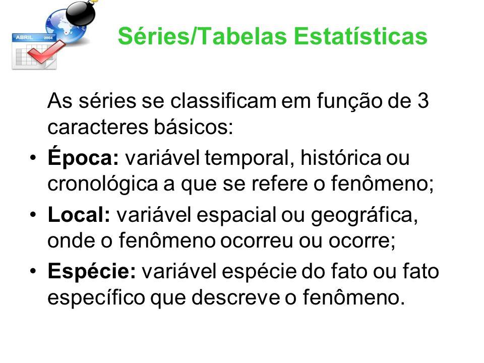 Séries/Tabelas Estatísticas As séries se classificam em função de 3 caracteres básicos: Época: variável temporal, histórica ou cronológica a que se re