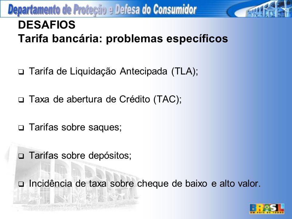 DESAFIOS Tarifa bancária: problemas específicos Tarifa de Liquidação Antecipada (TLA); Taxa de abertura de Crédito (TAC); Tarifas sobre saques; Tarifas sobre depósitos; Incidência de taxa sobre cheque de baixo e alto valor.