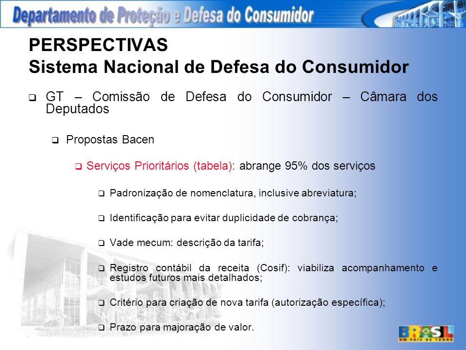 PERSPECTIVAS Sistema Nacional de Defesa do Consumidor GT – Comissão de Defesa do Consumidor – Câmara dos Deputados Propostas Bacen Serviços Prioritários (tabela): abrange 95% dos serviços Padronização de nomenclatura, inclusive abreviatura; Identificação para evitar duplicidade de cobrança; Vade mecum: descrição da tarifa; Registro contábil da receita (Cosif): viabiliza acompanhamento e estudos futuros mais detalhados; Critério para criação de nova tarifa (autorização específica); Prazo para majoração de valor.