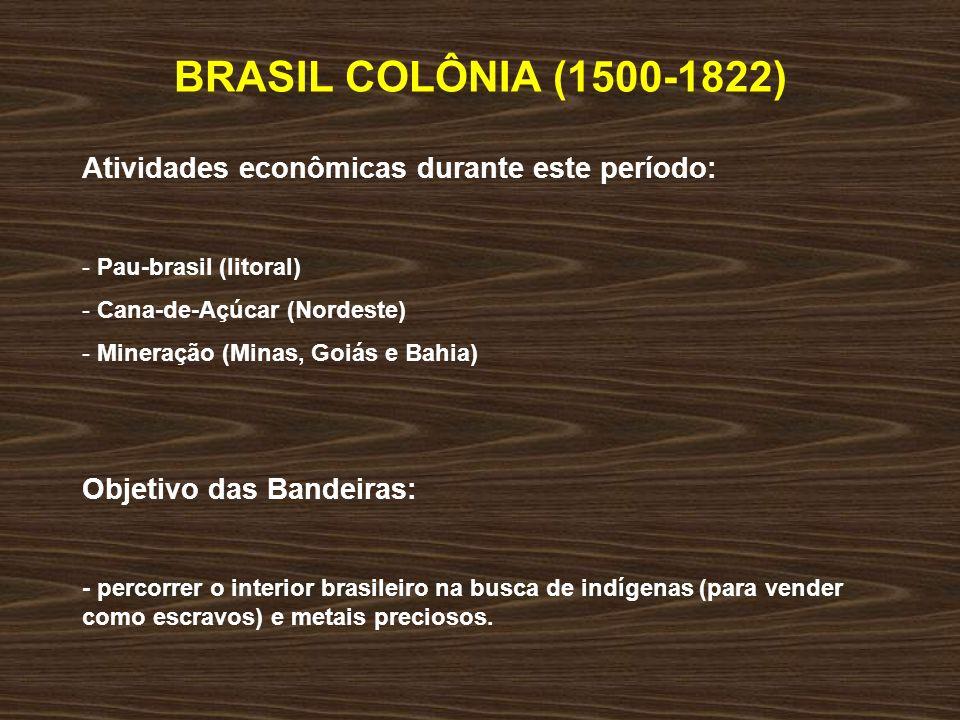 BRASIL COLÔNIA (1500-1822) Atividades econômicas durante este período: - Pau-brasil (litoral) - Cana-de-Açúcar (Nordeste) - Mineração (Minas, Goiás e