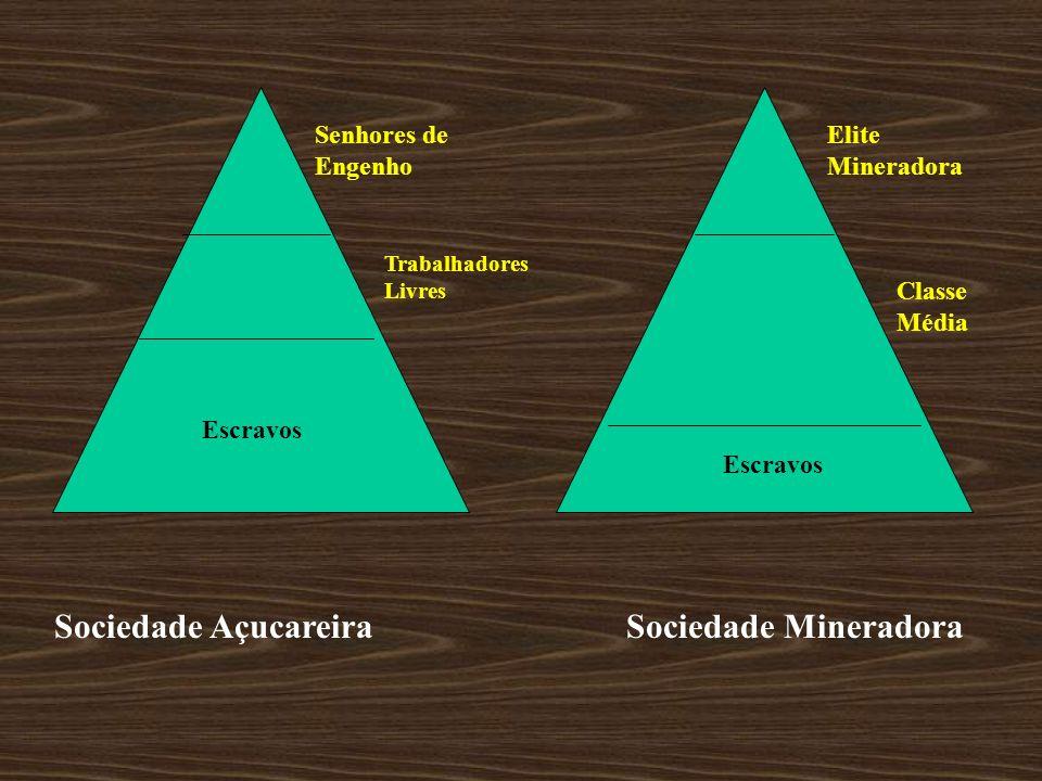 Senhores de Engenho Trabalhadores Livres Escravos Classe Média Elite Mineradora Sociedade Açucareira Sociedade Mineradora