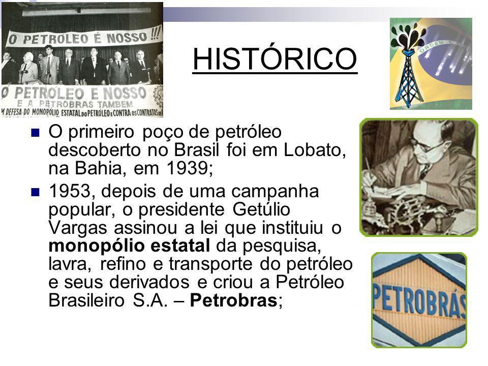 HISTÓRICO O primeiro poço de petróleo descoberto no Brasil foi em Lobato, na Bahia, em 1939; 1953, depois de uma campanha popular, o presidente Getúli