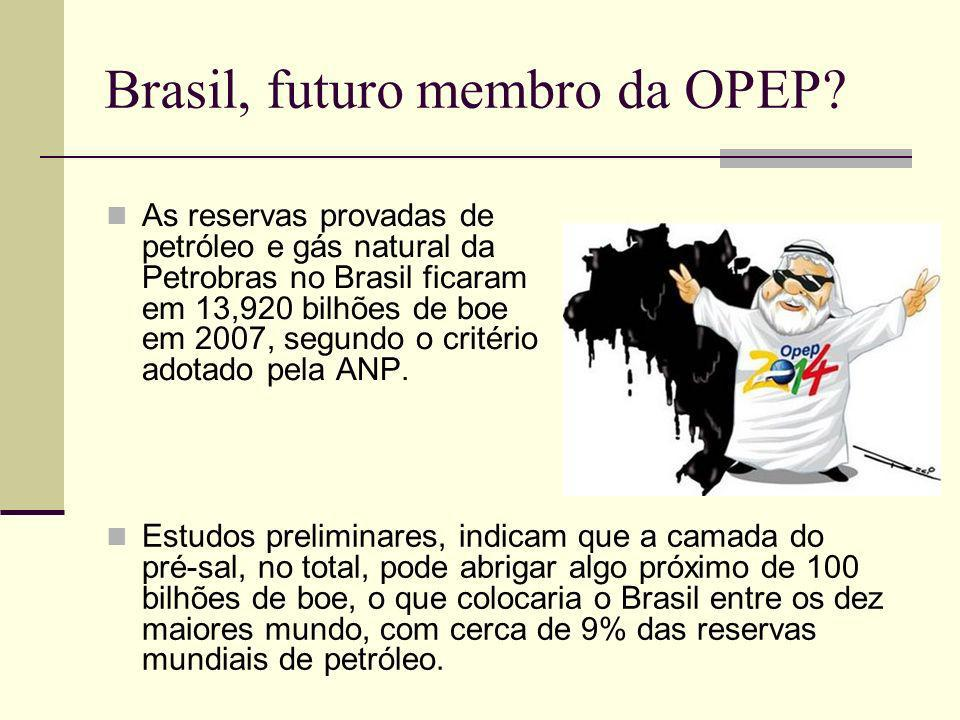 Brasil, futuro membro da OPEP? As reservas provadas de petróleo e gás natural da Petrobras no Brasil ficaram em 13,920 bilhões de boe em 2007, segundo