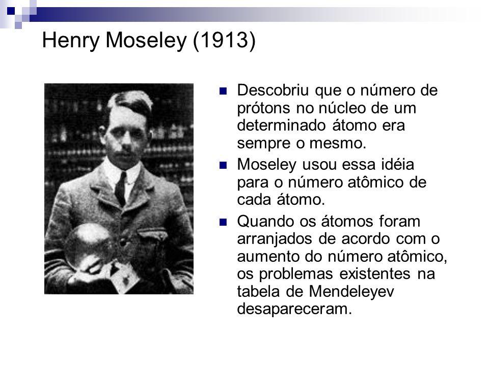 Henry Moseley (1913) Descobriu que o número de prótons no núcleo de um determinado átomo era sempre o mesmo. Moseley usou essa idéia para o número atô