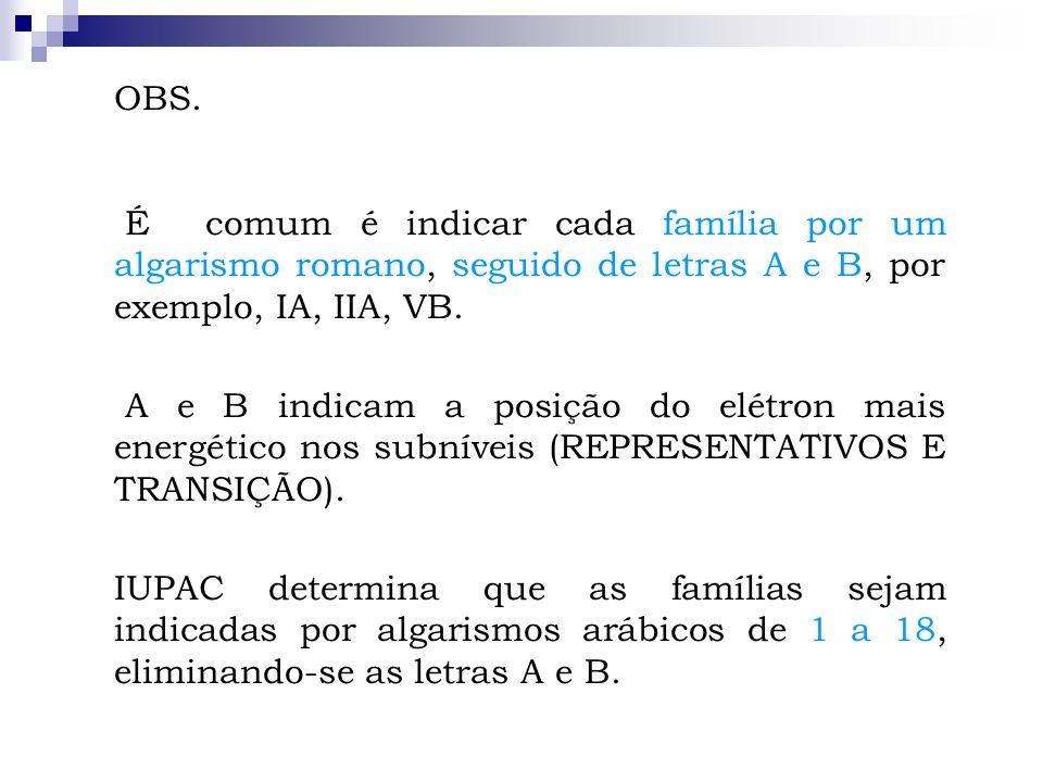 OBS. É comum é indicar cada família por um algarismo romano, seguido de letras A e B, por exemplo, IA, IIA, VB. A e B indicam a posição do elétron mai