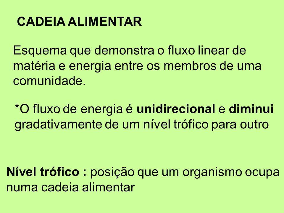CADEIA ALIMENTAR Esquema que demonstra o fluxo linear de matéria e energia entre os membros de uma comunidade. Nível trófico : posição que um organism