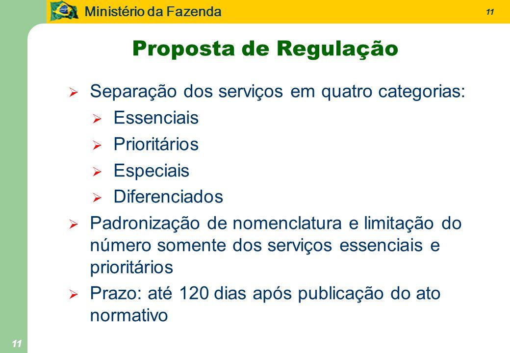 Ministério da Fazenda 11 Proposta de Regulação Separação dos serviços em quatro categorias: Essenciais Prioritários Especiais Diferenciados Padronizaç