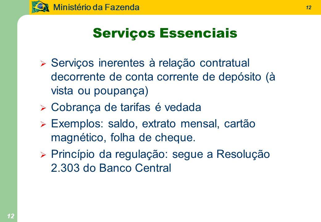 Ministério da Fazenda 12 Serviços Essenciais Serviços inerentes à relação contratual decorrente de conta corrente de depósito (à vista ou poupança) Co