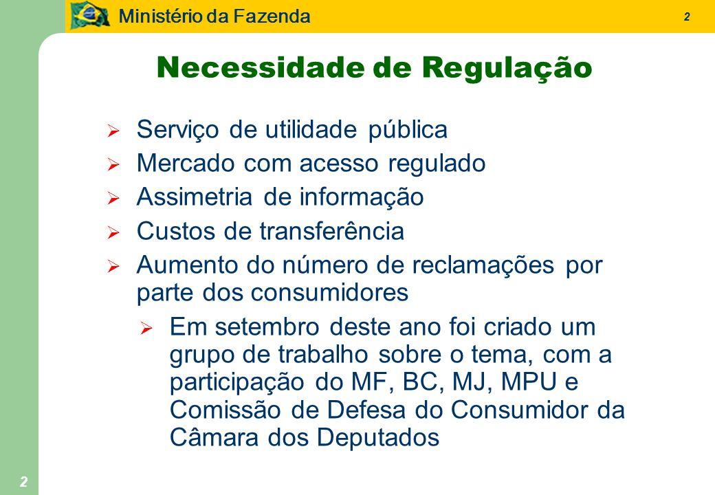 Ministério da Fazenda 2 2 Serviço de utilidade pública Mercado com acesso regulado Assimetria de informação Custos de transferência Aumento do número