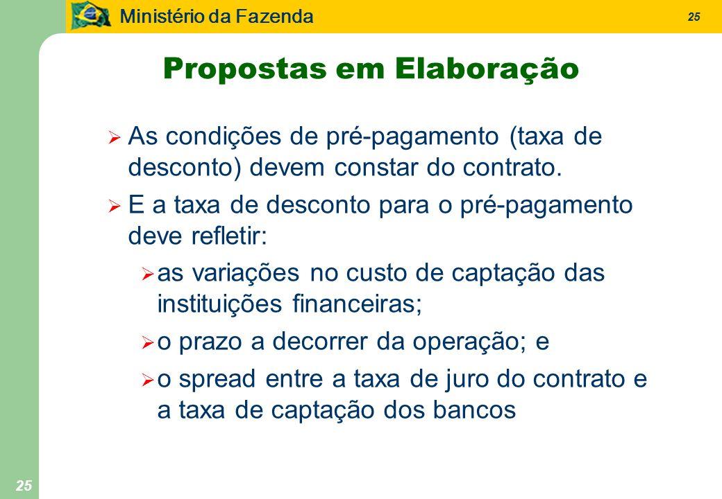 Ministério da Fazenda 25 Propostas em Elaboração As condições de pré-pagamento (taxa de desconto) devem constar do contrato. E a taxa de desconto para