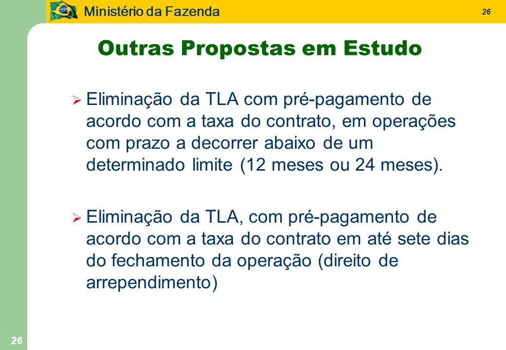 Ministério da Fazenda 26 Outras Propostas em Estudo Eliminação da TLA com pré-pagamento de acordo com a taxa do contrato, em operações com prazo a decorrer abaixo de um determinado limite (12 meses ou 24 meses).