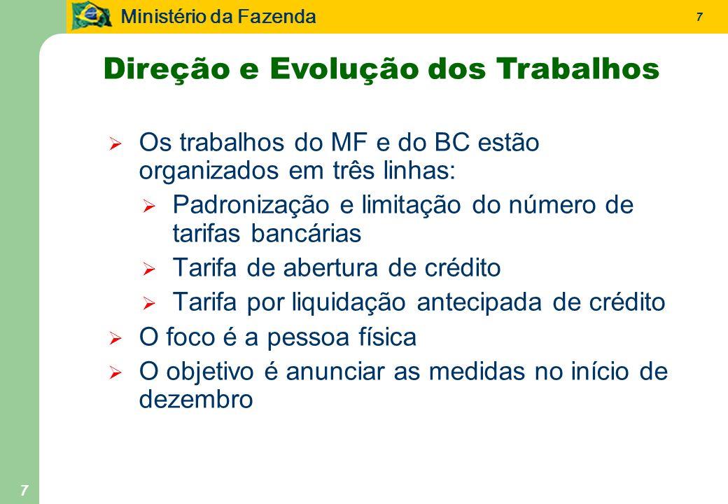 Ministério da Fazenda 7 7 Os trabalhos do MF e do BC estão organizados em três linhas: Padronização e limitação do número de tarifas bancárias Tarifa