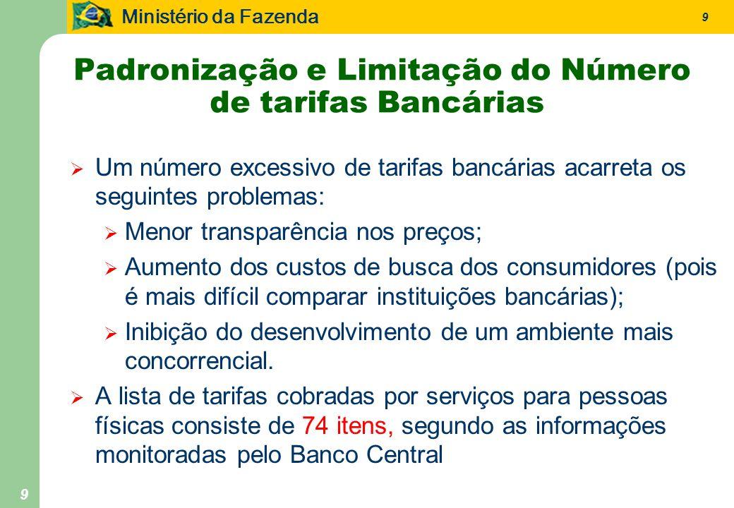 Ministério da Fazenda 9 9 Padronização e Limitação do Número de tarifas Bancárias Um número excessivo de tarifas bancárias acarreta os seguintes probl