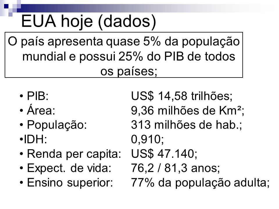 Agropecuária dos EUA Setor que ocupa 2,9% da PEA e 1% do PIB (tecnologias mais avançadas do mundo); As regiões agropecuárias são especializadas em cinturões agrícolas; COMPARAÇÃO: 1,2% dos proprietários = - Brasil = 43% da área; - EUA = 11% da área; (Lei Homestead act).
