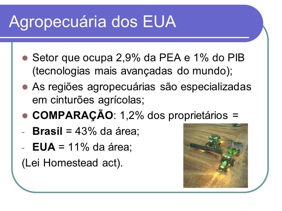 Agropecuária dos EUA Setor que ocupa 2,9% da PEA e 1% do PIB (tecnologias mais avançadas do mundo); As regiões agropecuárias são especializadas em cin