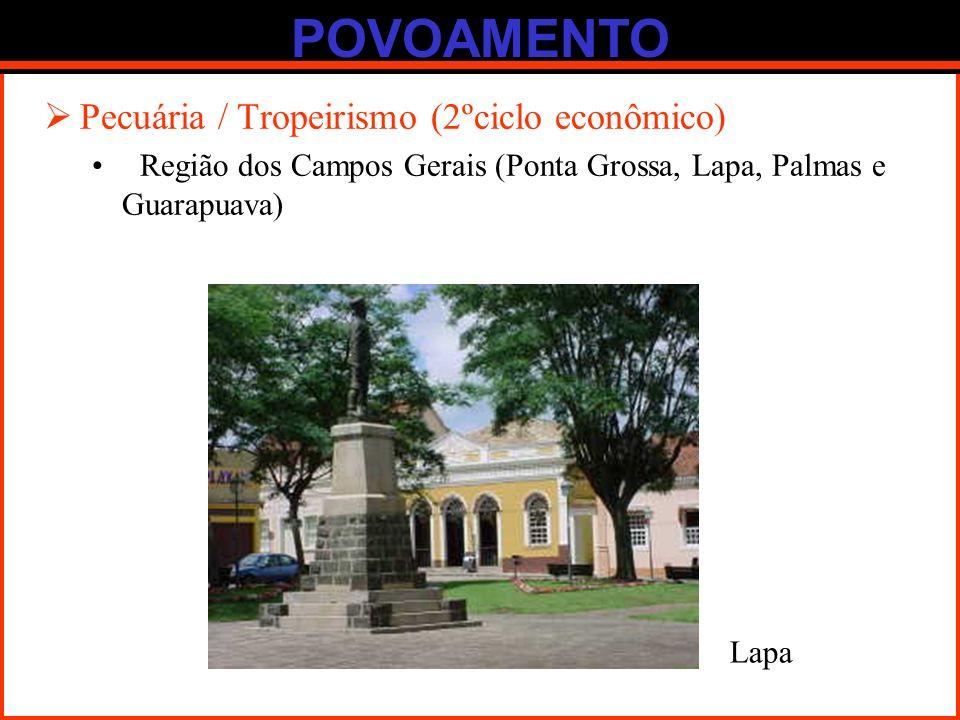 POVOAMENTO Pecuária / Tropeirismo (2ºciclo econômico) Região dos Campos Gerais (Ponta Grossa, Lapa, Palmas e Guarapuava) Lapa