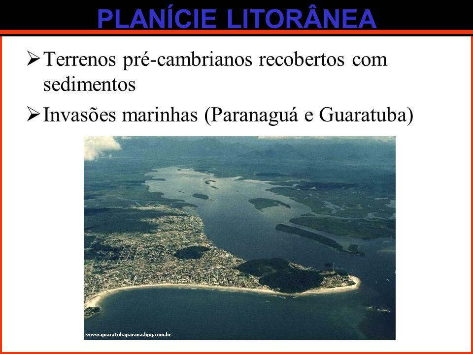 PLANÍCIE LITORÂNEA Terrenos pré-cambrianos recobertos com sedimentos Invasões marinhas (Paranaguá e Guaratuba)