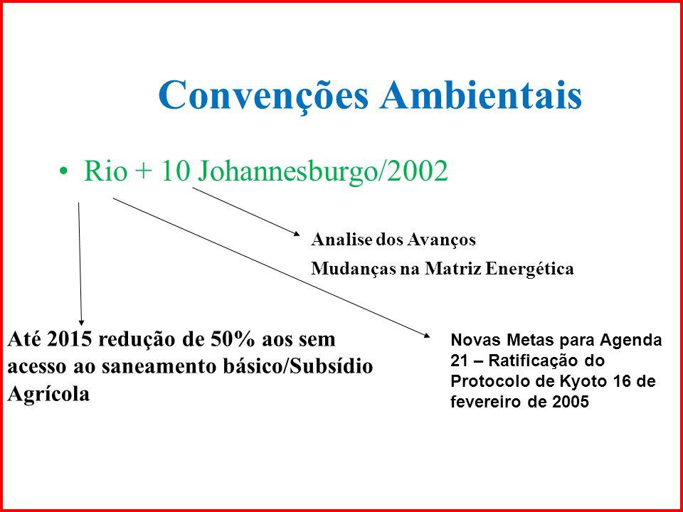 Convenções Ambientais Rio + 10 Johannesburgo/2002 Analise dos Avanços Mudanças na Matriz Energética Até 2015 redução de 50% aos sem acesso ao saneamen