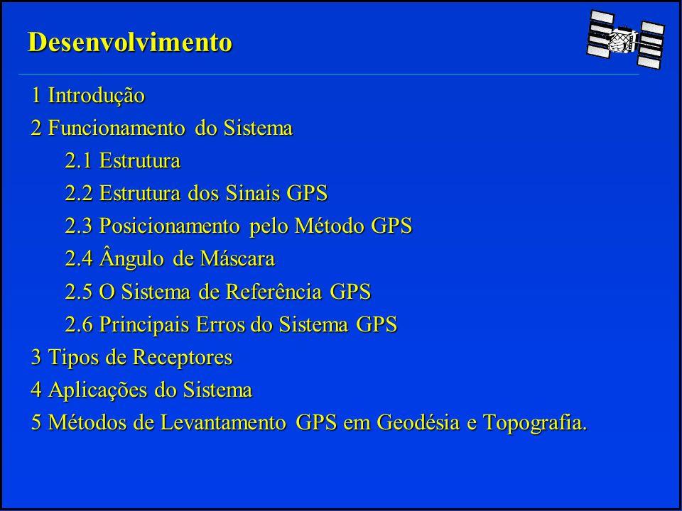 Conversão de Altitude Elipsoidal em Altitude Geoidal: O Mapa Geoidal do Brasil possui escala muito pequena para uma interpolação segura O Mapa Geoidal do Brasil possui escala muito pequena para uma interpolação segura Deve-se utilizar modelos matemáticos geoidais para convertê-las Deve-se utilizar modelos matemáticos geoidais para convertê-las No Brasil é publicado pelo IBGE o software Mapgeo, mas ele é muito pouco preciso: No Brasil é publicado pelo IBGE o software Mapgeo, mas ele é muito pouco preciso: - Precisão Absoluta = +/- 3m -Precisão Relativa = +/-1cm/km Deve-se então fazer o posicionamento relativo Deve-se então fazer o posicionamento relativo 2 Funcionamento do sistema 2.5 O sistema de referência GPS