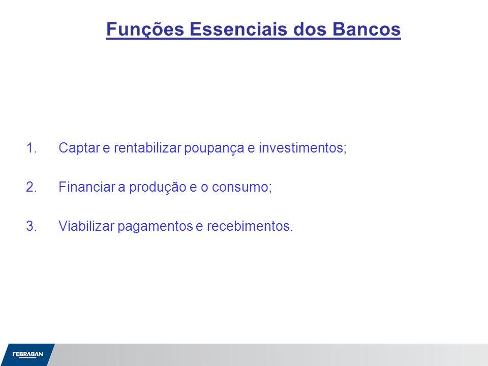 Funções Essenciais dos Bancos 1.Captar e rentabilizar poupança e investimentos; 2.Financiar a produção e o consumo; 3.Viabilizar pagamentos e recebime