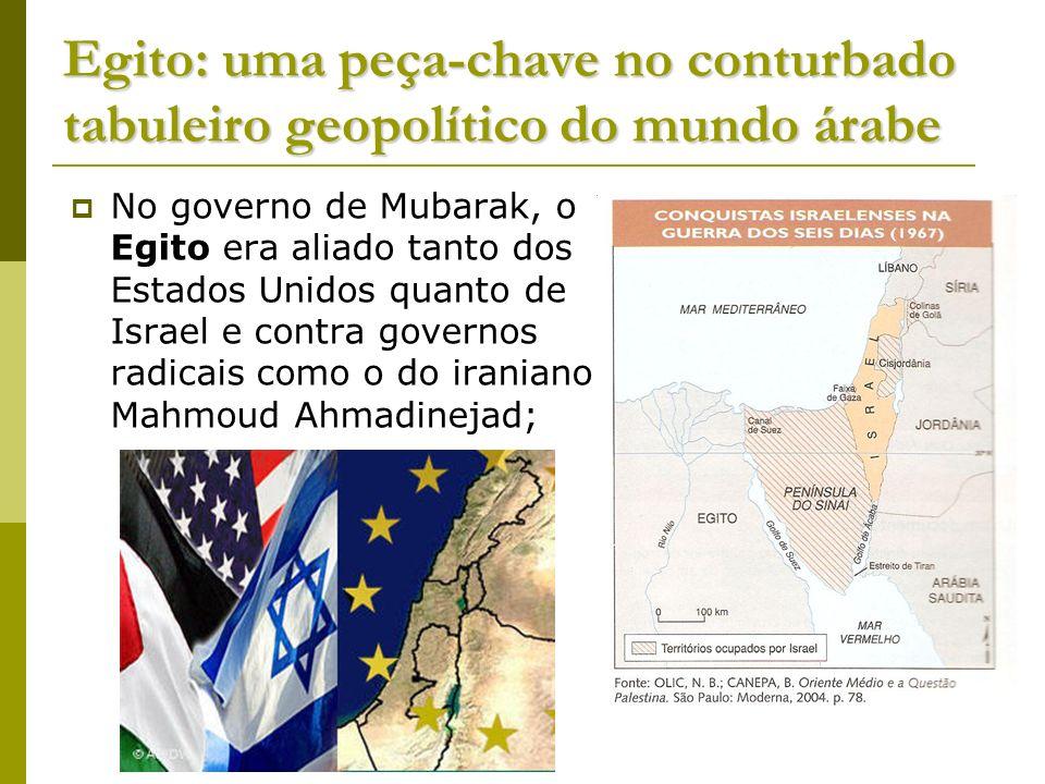 Egito: uma peça-chave no conturbado tabuleiro geopolítico do mundo árabe No governo de Mubarak, o Egito era aliado tanto dos Estados Unidos quanto de