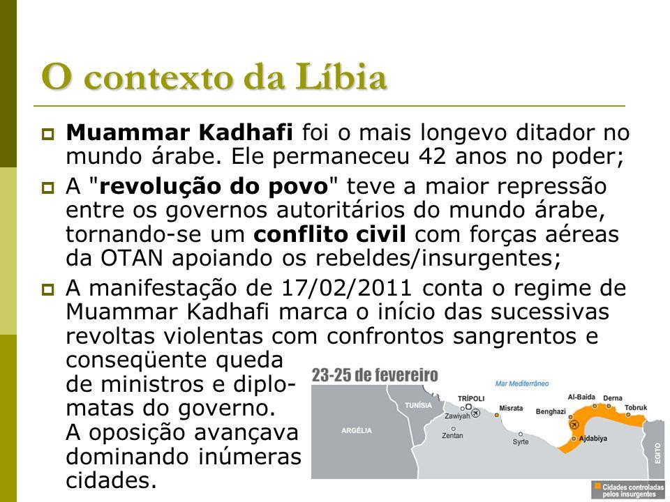 O contexto da Líbia Muammar Kadhafi foi o mais longevo ditador no mundo árabe. Ele permaneceu 42 anos no poder; A