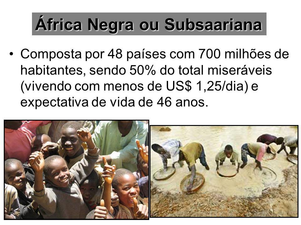 Composta por 48 países com 700 milhões de habitantes, sendo 50% do total miseráveis (vivendo com menos de US$ 1,25/dia) e expectativa de vida de 46 an