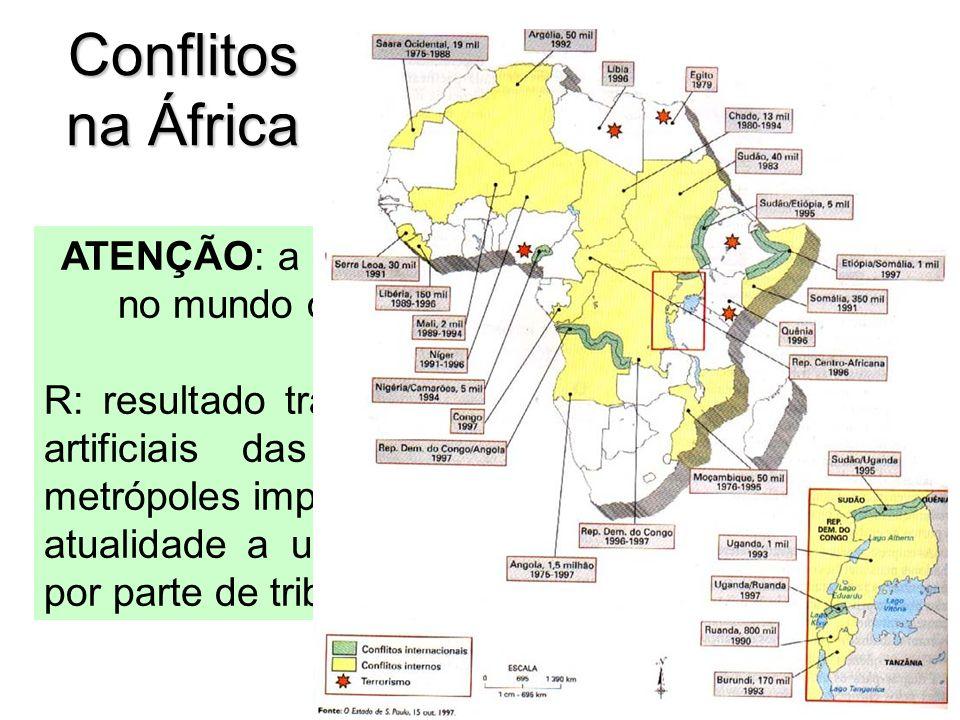 Conflitos na África ATENÇÃO: a maior parte dos recentes conflitos no mundo ocorreram na região. Por quê? R: resultado trágico das definições arbitrári