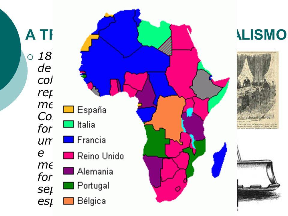 A TRAGÉDIA DO NEOCOLONIALISMO 1884/85: Conferência de Berlim: os impérios coloniais europeus repartiram arbitraria- mente o território. Com isso, trib