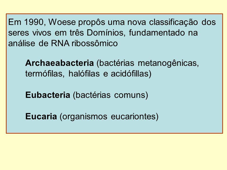 Em 1990, Woese propôs uma nova classificação dos seres vivos em três Domínios, fundamentado na análise de RNA ribossômico Archaeabacteria (bactérias m