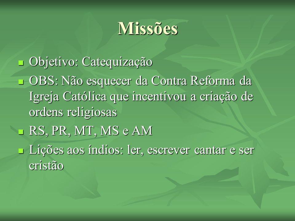 Missões Objetivo: Catequização Objetivo: Catequização OBS: Não esquecer da Contra Reforma da Igreja Católica que incentivou a criação de ordens religi