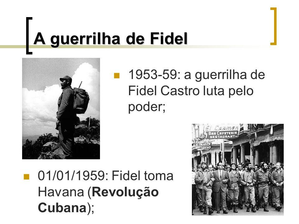 As reformas da Revolução de Fidel Reforma Agrária (propriedades com no máximo 67 ha); Combate as desigualdades sociais; Nacionalização das empresas estran- geiras; Estatização dos meios de produção; Fuzilamento dos colaboradores de Fulgêncio Batista.