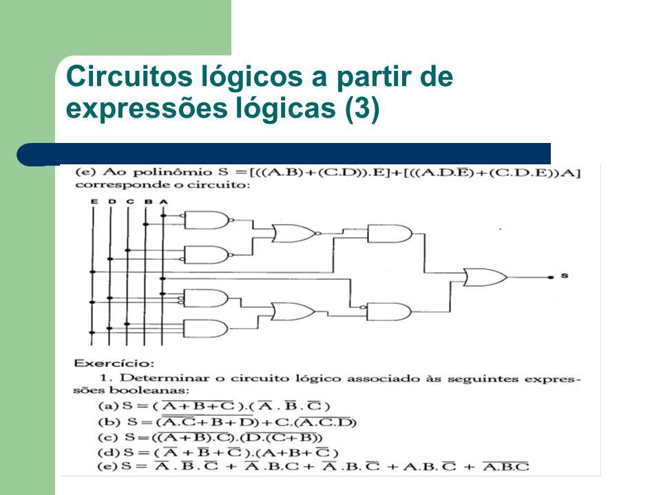 Circuitos lógicos a partir de expressões lógicas (3)