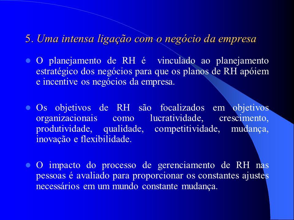 5. Uma intensa ligação com o negócio da empresa O planejamento de RH é vinculado ao planejamento estratégico dos negócios para que os planos de RH apó