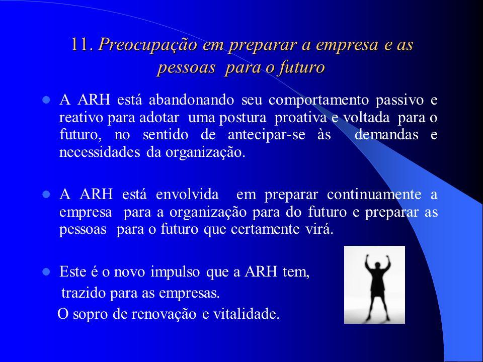 11. Preocupação em preparar a empresa e as pessoas para o futuro A ARH está abandonando seu comportamento passivo e reativo para adotar uma postura pr
