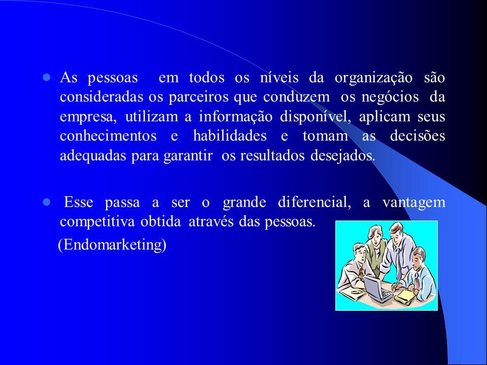 As pessoas em todos os níveis da organização são consideradas os parceiros que conduzem os negócios da empresa, utilizam a informação disponível, apli