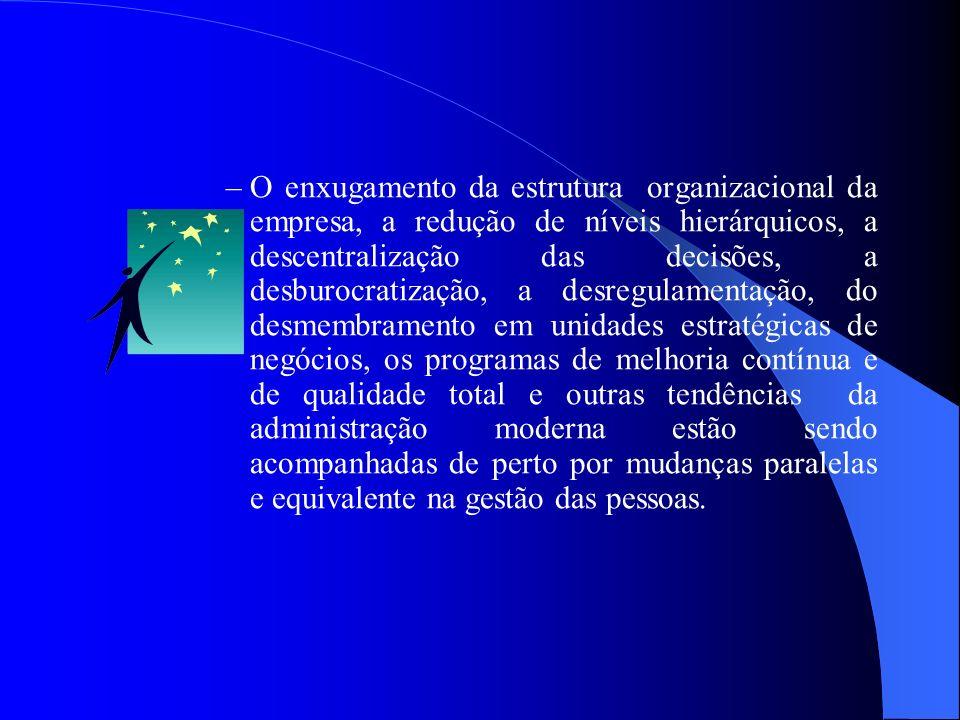 –O enxugamento da estrutura organizacional da empresa, a redução de níveis hierárquicos, a descentralização das decisões, a desburocratização, a desre