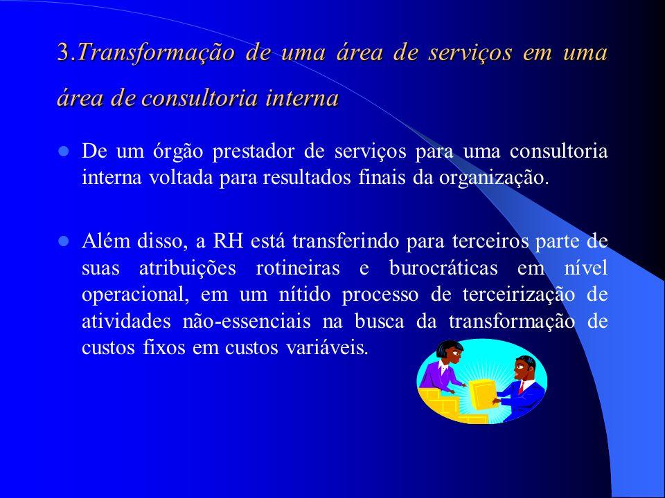 3.Transformação de uma área de serviços em uma área de consultoria interna De um órgão prestador de serviços para uma consultoria interna voltada para