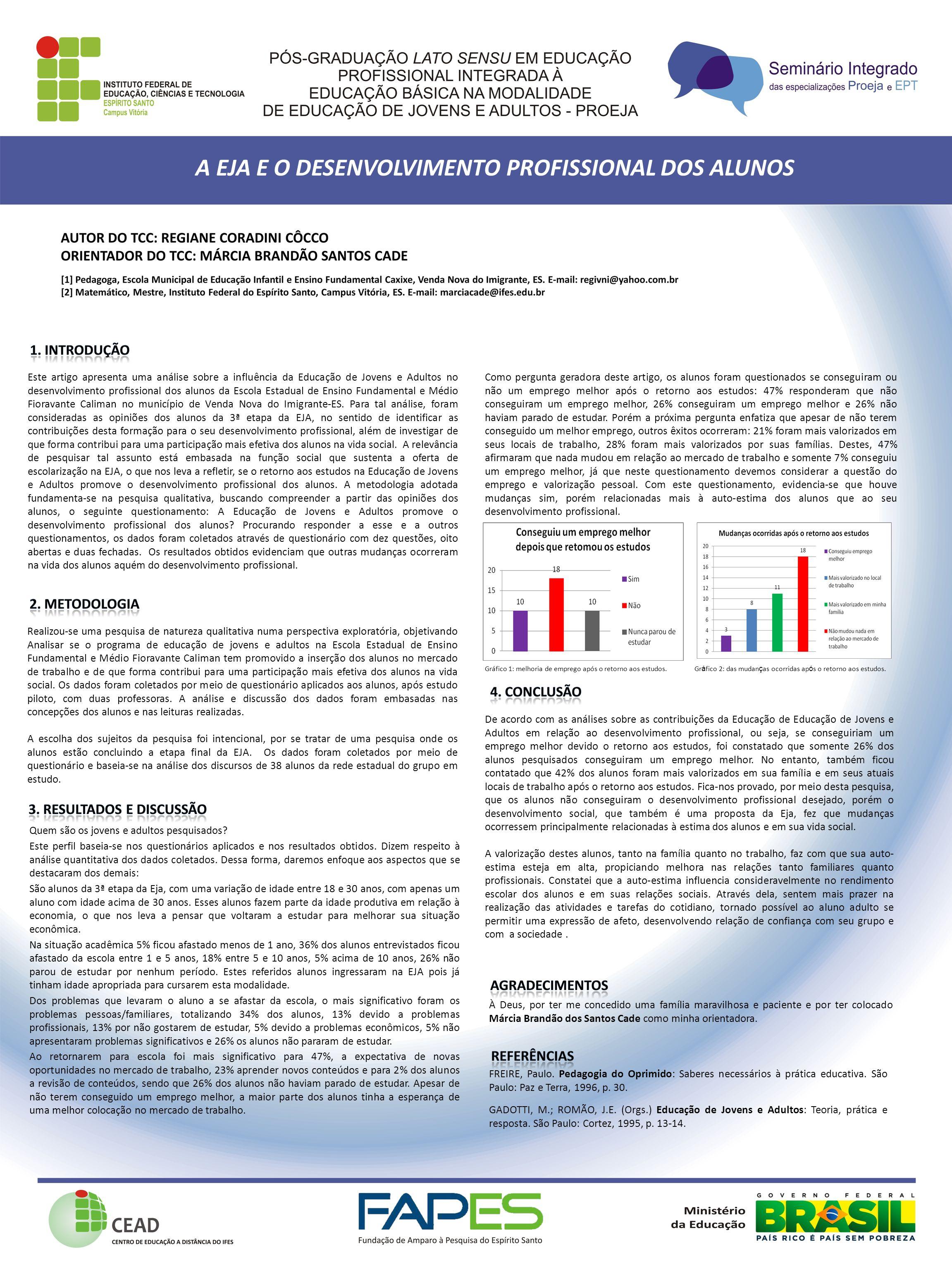 Este artigo apresenta uma análise sobre a influência da Educação de Jovens e Adultos no desenvolvimento profissional dos alunos da Escola Estadual de