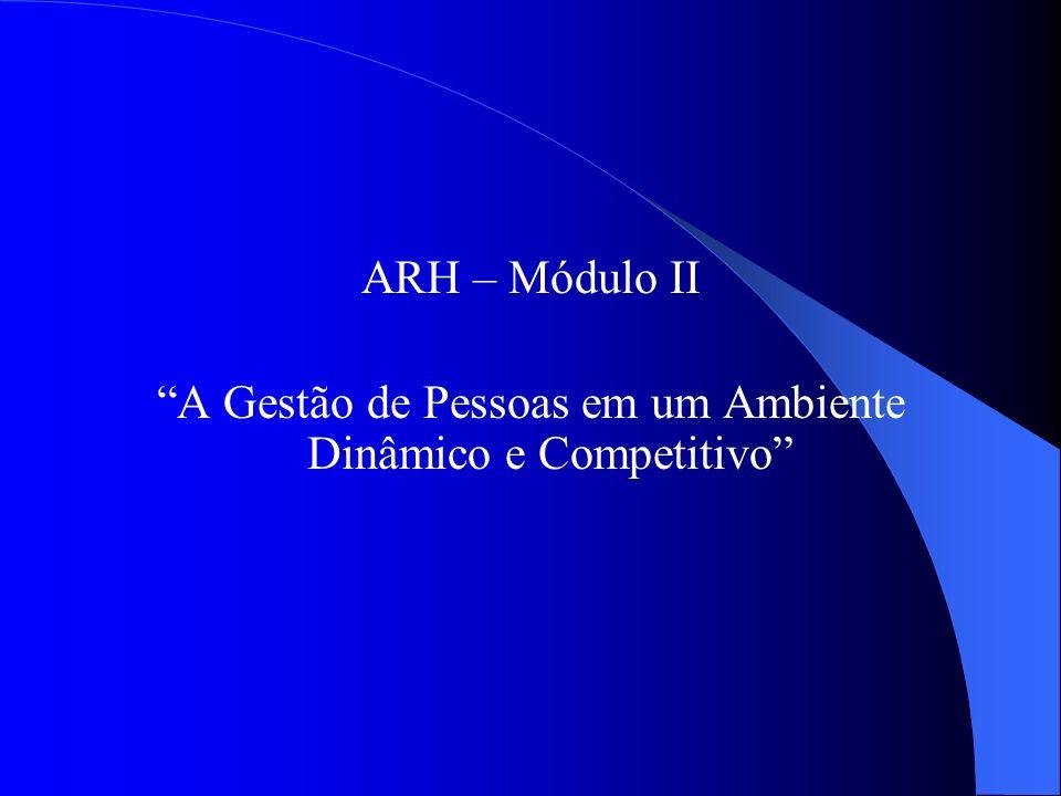 ARH – Módulo II A Gestão de Pessoas em um Ambiente Dinâmico e Competitivo