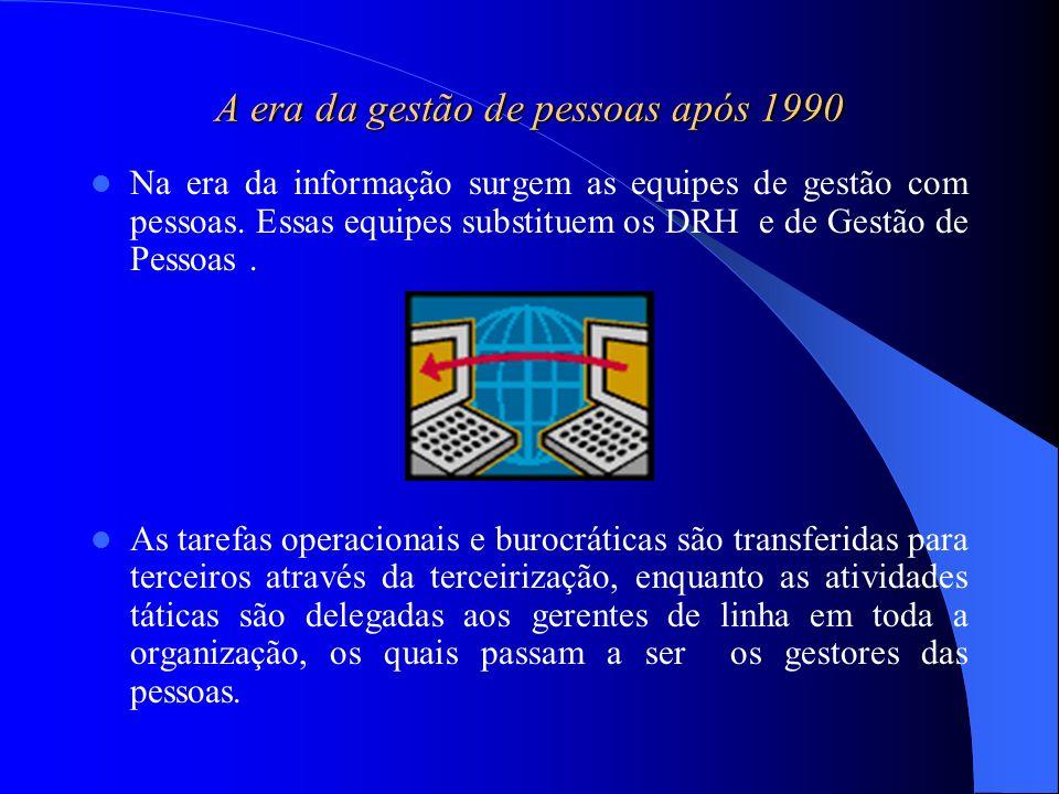 A era da gestão de pessoas após 1990 Na era da informação surgem as equipes de gestão com pessoas. Essas equipes substituem os DRH e de Gestão de Pess