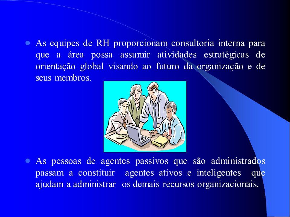 As equipes de RH proporcionam consultoria interna para que a área possa assumir atividades estratégicas de orientação global visando ao futuro da orga
