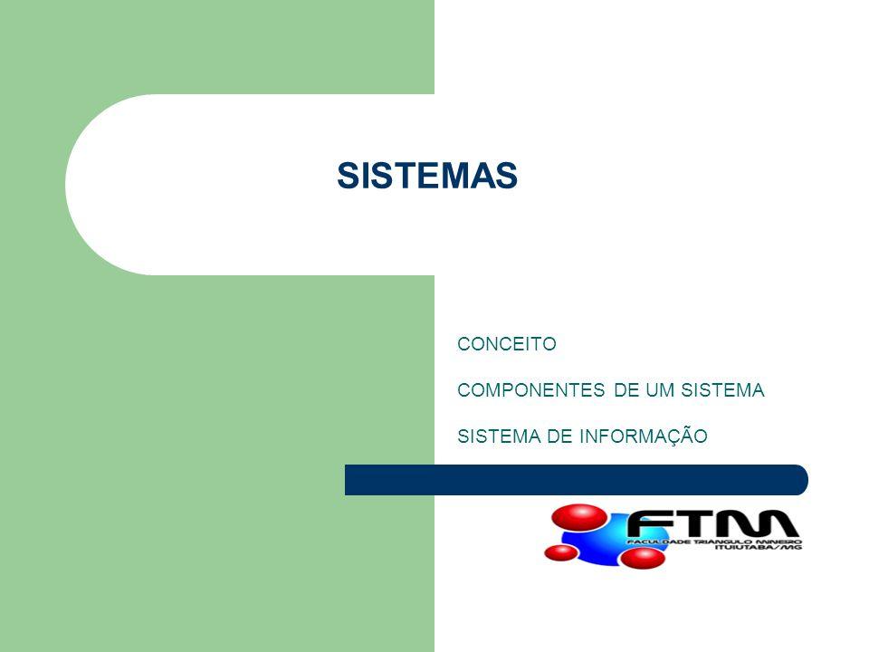SISTEMAS CONCEITO COMPONENTES DE UM SISTEMA SISTEMA DE INFORMAÇÃO