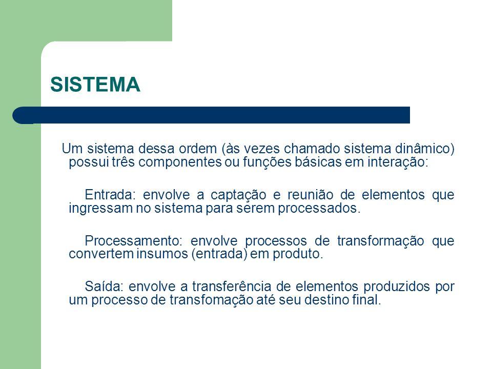 SISTEMA Um sistema dessa ordem (às vezes chamado sistema dinâmico) possui três componentes ou funções básicas em interação: Entrada: envolve a captaçã